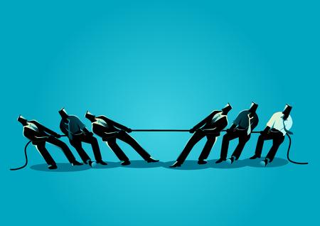 Geschäftskonzeptvektorillustration der Geschäftsmann-Teamarbeit im Tauziehen, Geschäft, Teamarbeit, Wettbewerb, Konzept