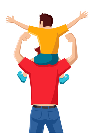 Simple flat vector cartoon of a son on his father shoulders Illustration