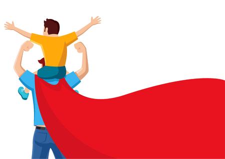 Dibujos animados de vector plano simple de un padre con capa roja que lleva a su hijo sobre sus hombros Ilustración de vector
