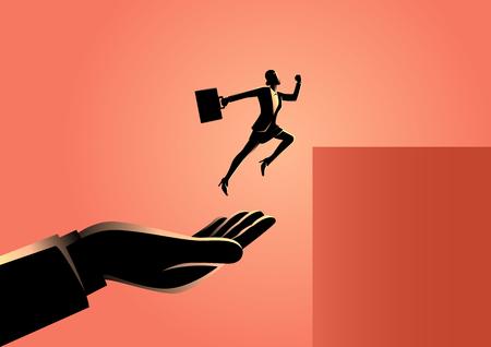 Business concept vector illustration of a hand helping a businesswoman to jump higher Illusztráció