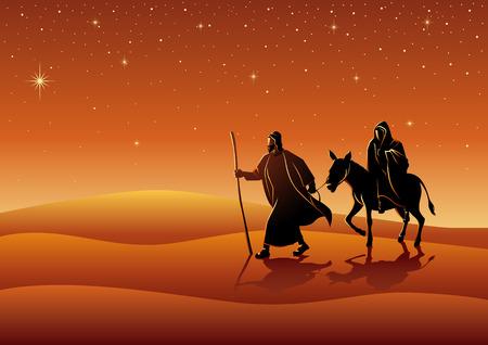 Biblical vector illustration series. Mary and Joseph, journey to Bethlehem, for Christmas theme Ilustração Vetorial