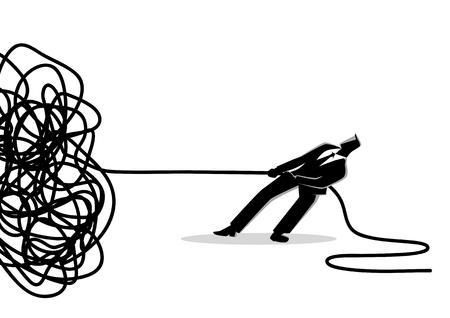 Ilustración de vector de concepto de negocio de un empresario tratando de desenredar una cuerda o cable enredado