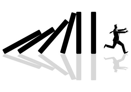Geschäftskonzeptvektorillustration eines Geschäftsmannes, der vom Dominoeffekt wegläuft