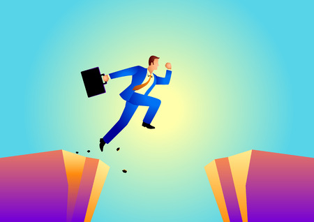 Business concept vector illustration of a businessman jumps over the ravine. Challenge, obstacle, optimism, determination in business concept