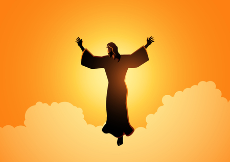 Biblical silhouette illustration of Jesus Christ raising His hands, for the ascension day of Jesus Christ theme