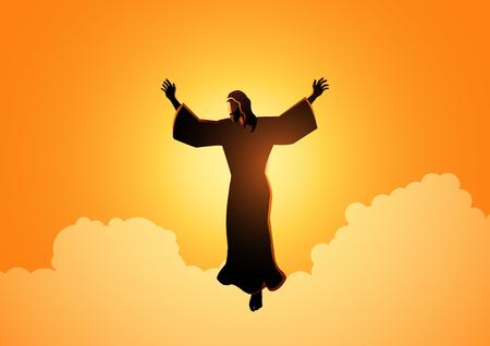 Ilustración bíblica de la silueta de Jesucristo levantando sus manos, para el tema del día de la ascensión de Jesucristo