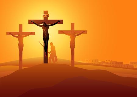 Bijbelse vector illustratie serie. Kruisweg of kruiswegstaties, twaalfde station, Jezus sterft aan het kruis.