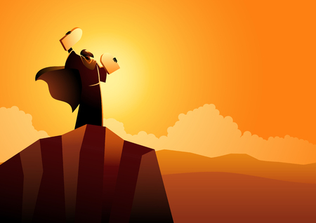 Biblical vector illustration series, Moses and Ten Commandments