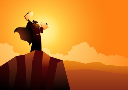 Serie de ilustraciones vectoriales bíblicas, Moisés y los diez mandamientos Ilustración de vector