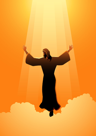 Biblical silhouette illustration series. The ascension day of Jesus Christ theme Çizim