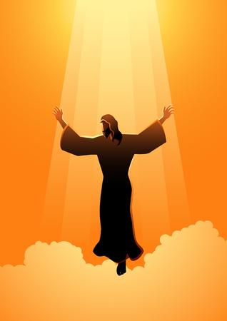 Serie biblica dell'illustrazione della siluetta. Tema del giorno dell'Ascensione di Gesù Cristo Vettoriali