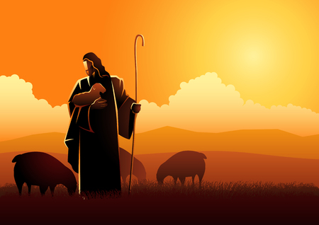 Biblical vector illustration of Jesus as a shepherd Çizim