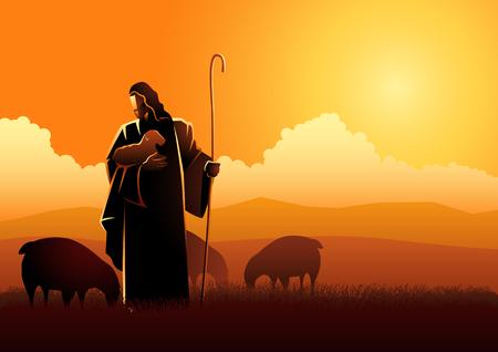 Ilustración vectorial bíblica de Jesús como pastor