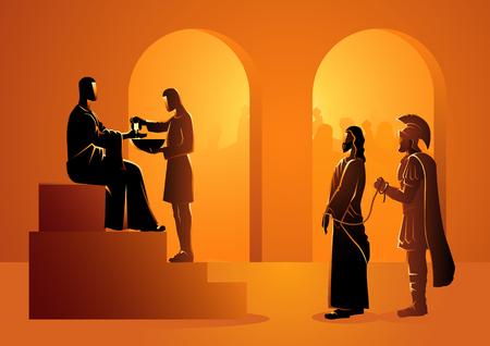 Serie de ilustración vectorial bíblica. Vía Crucis o Estaciones de la Cruz, Pilato condena a Jesús a morir.