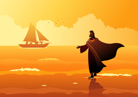 Biblical vector illustration series. Jesus walking on water Çizim
