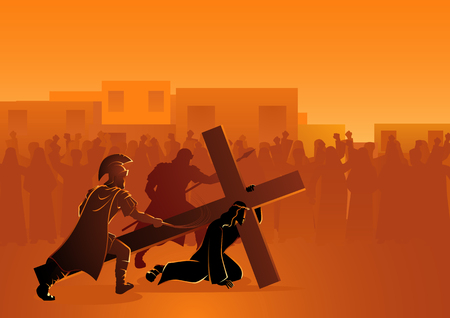 Bijbelse vector illustratie serie. Kruisweg of kruisweg, Passie van Christus.