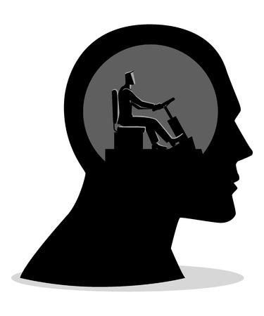 Illustration vectorielle de concept d'entreprise d'une tête humaine contrôlée par un homme d'affaires Vecteurs