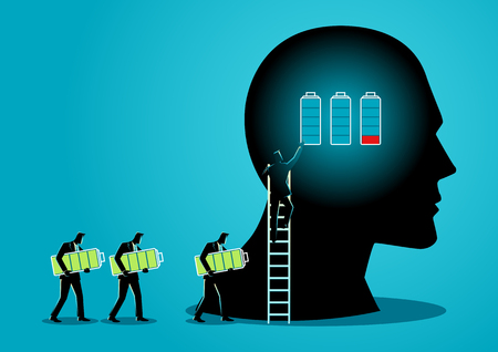 Illustration of men changing batteries of human brain