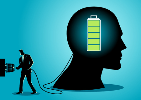 Business concept illustration of a businessman charging a brain Ilustração