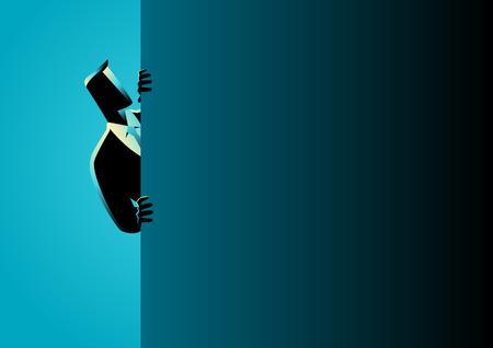 Illustrazione vettoriale di concetto di affari di un uomo d'affari che sbircia da dietro il muro Vettoriali