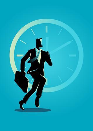Illustration vectorielle de concept d'entreprise d'un homme d'affaires qui court sur fond d'horloge Vecteurs