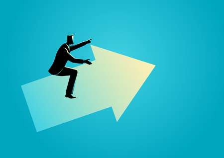 Business concept vector illustration of a businessman riding an arrow graph