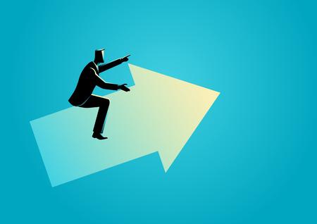 Ilustración de vector de concepto de negocio de un empresario montando un gráfico de flecha