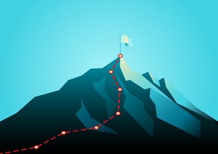 Business concept vector illustration of a mountain with red path graphic, route to mountain peak, business journey and planning concept. Ilustração