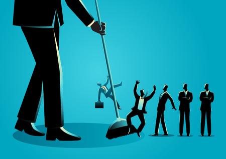 Illustrazione vettoriale di concetto di affari di un uomo d'affari che spazza, uomini d'affari che vengono spazzati da una scopa. Ridimensionamento, concetto di riduzione dei dipendenti Vettoriali