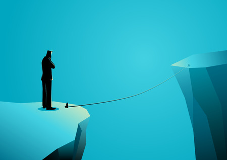 Business concept vector illustration of a businessman standing on the edge of ravine thinking or doubting before making a decision to cross using thin rope.