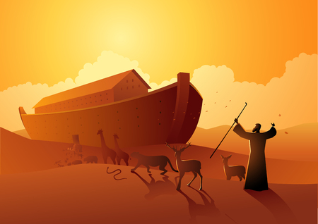 Biblical vector illustration series, Noah and the ark before great flood Reklamní fotografie - 115726300