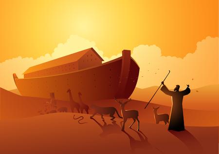 Serie de ilustración vectorial bíblica, Noé y el arca antes del gran diluvio