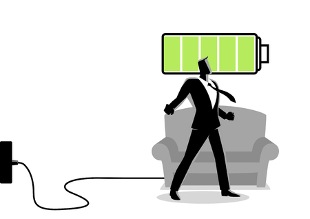 Business concept illustration of a businessman after getting restful sleep and waking up energized Ilustrace
