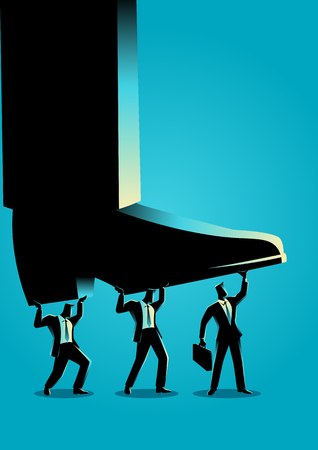 Business concept vector illustration of businessmen trying to lift up giant foot