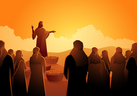Biblical vector illustration series, Jesus feeds the five thousand or feeding the multitude Reklamní fotografie - 115726342