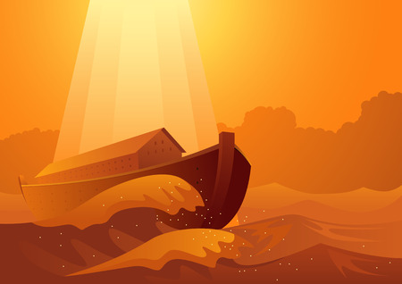 Biblical vector illustration series, Noah's ark and the great flood