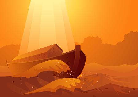 Série d'illustrations vectorielles bibliques, l'arche de Noé et le grand déluge Vecteurs