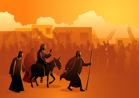 Biblical vector illustration series, Jesus comes to Jerusalem as King 스톡 콘텐츠 - 115726345