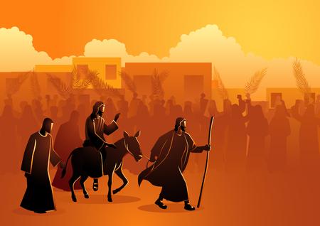 Série d'illustrations vectorielles bibliques, Jésus vient à Jérusalem en tant que roi