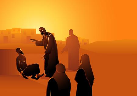 Serie de ilustración vectorial bíblica, Jesús sana al hombre con lepra