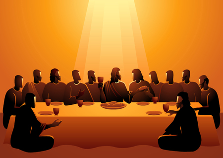 Série d'illustrations vectorielles bibliques, que Jésus a partagée avec ses apôtres à Jérusalem avant sa crucifixion, La Dernière Cène Vecteurs