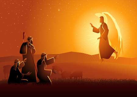 Biblical vector illustration series, Annunciation to the shepherds Zdjęcie Seryjne - 115726349