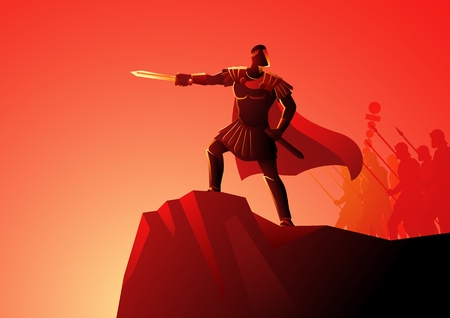 Ilustración de vector de Cayo Julio César de pie sobre la roca al mando de su ejército