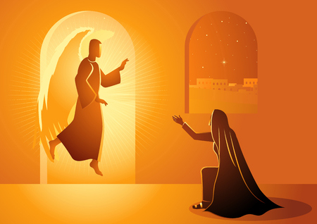 Biblical vector illustration series, Gabriel visits Mary also referred to as the Annunciation to the Blessed Virgin Mary Vectores