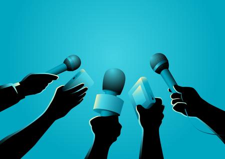 Illustration vectorielle de mains tenant des microphones et des enregistreurs, symbole du journalisme Vecteurs