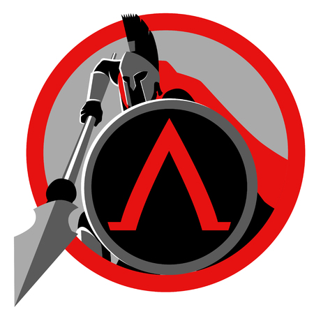 Symbol of spartan warrior with his spear and shield