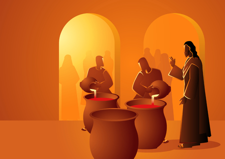 Biblical vector illustration series, Jesus turns water into wine