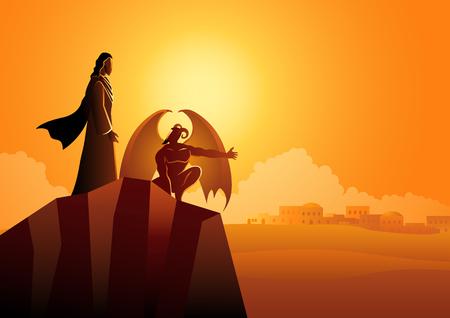 Serie di illustrazioni vettoriali bibliche, la tentazione di Gesù Cristo