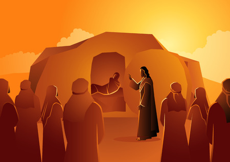 Biblical vector illustration series, Jesus raises Lazarus from the dead
