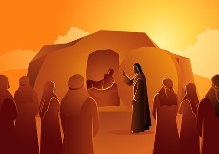 Série d'illustrations vectorielles bibliques, Jésus ressuscite Lazare d'entre les morts